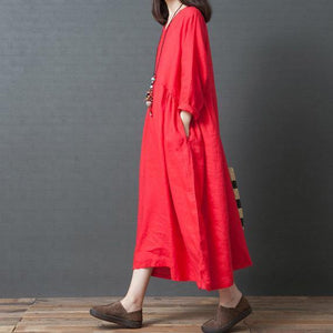 Elegant red linen dresses plus size Work Outfits v neck pockets Maxi Dresses