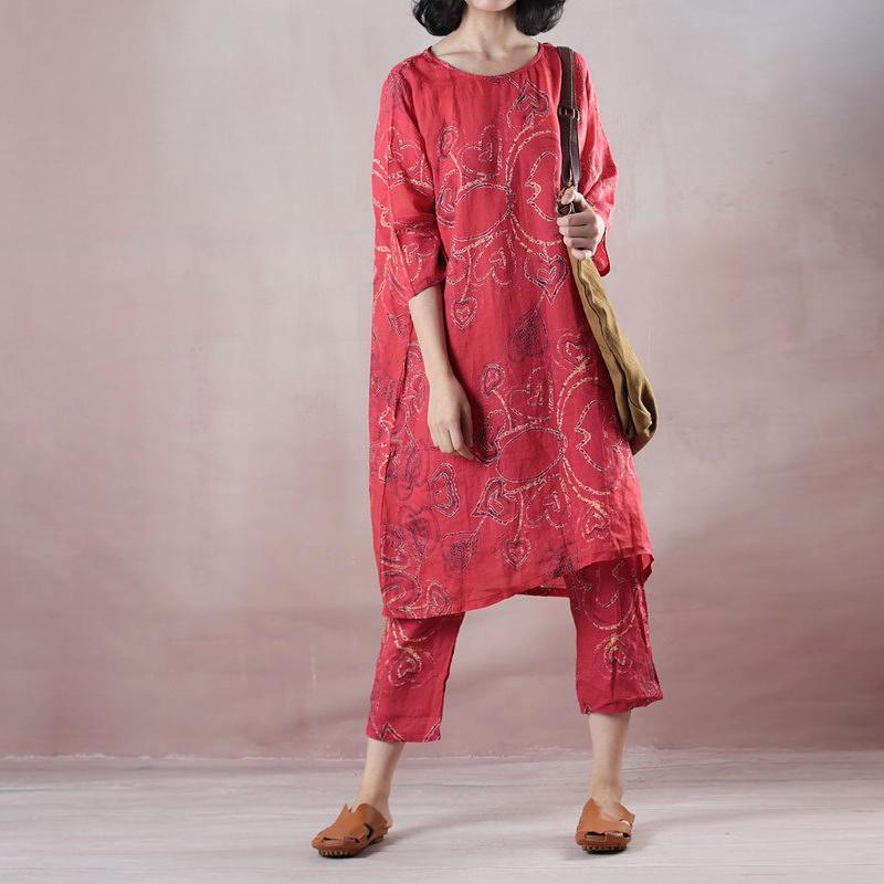 Elegant red linen print oversize o neck linen top quality half sleeve tops and elastic waist trouser two pieces