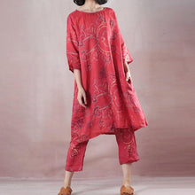 Load image into Gallery viewer, Elegant red linen print oversize o neck linen top quality half sleeve tops and elastic waist trouser two pieces