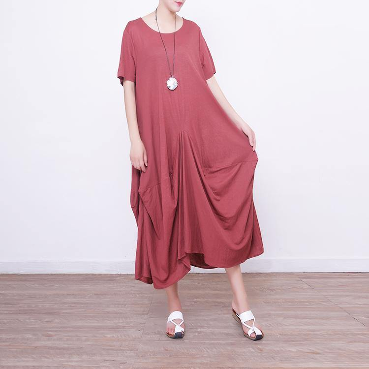 Elegant red natural linen dress  casual short sleeve linen gown boutique asymmetric kaftans