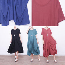 Load image into Gallery viewer, Elegant red natural linen dress  casual short sleeve linen gown boutique asymmetric kaftans