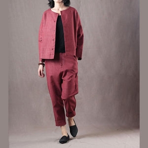 Elegant red natural linen t shirt oversize two pieces vintage linen casual pants t shirt