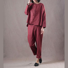 Load image into Gallery viewer, Elegant red natural linen t shirt oversize two pieces vintage linen casual pants t shirt