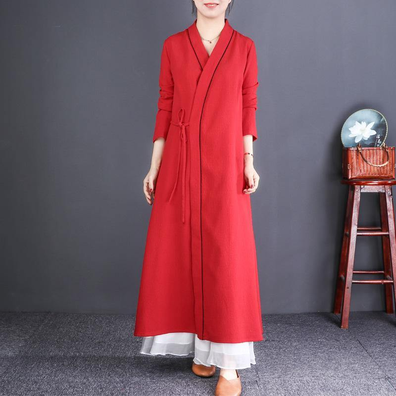 Elegant red oversize neck tie waist maxi coat