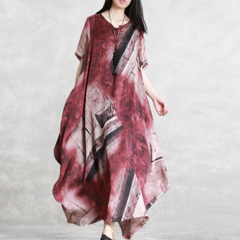 Elegant red print clothes For Women Omychic v neck asymmetric Maxi Summer Dresses