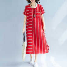 Load image into Gallery viewer, Elegant red striped long silk blended dresses plus size O neck baggy dresses traveling clothing Elegant short sleeve dresses