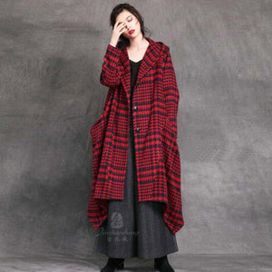 Elegant red woolen overcoat Loose fitting trench coat Plaid hooded woolen outwear
