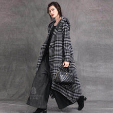 Load image into Gallery viewer, Elegant red woolen overcoat Loose fitting trench coat Plaid hooded woolen outwear