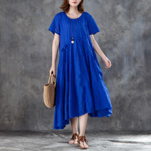 Load image into Gallery viewer, Elegant shift dresses trendy plus size Women Short Sleeve Drawstring Blue Dress