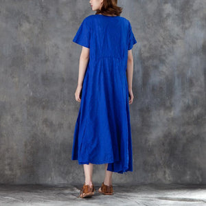 Elegant shift dresses trendy plus size Women Short Sleeve Drawstring Blue Dress