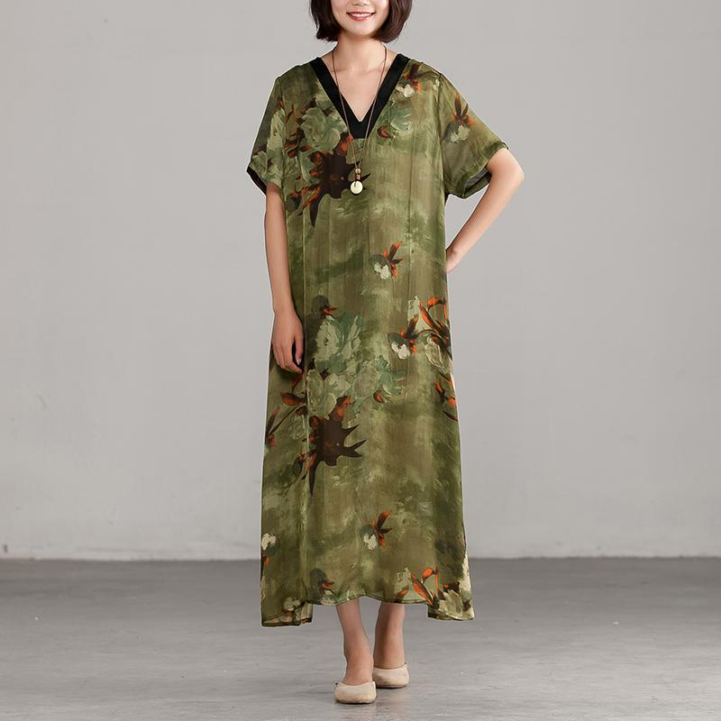 Elegant silk blended maxi dress trendy plus size Green V neck Printing Loose Casual Dress
