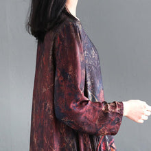 Laden Sie das Bild in den Galerie-Viewer, Elegant silk dresses Boho Spring O-neck Print Loose Splice Chiffon Dress