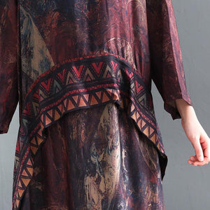 Elegant silk dresses Boho Spring O-neck Print Loose Splice Chiffon Dress