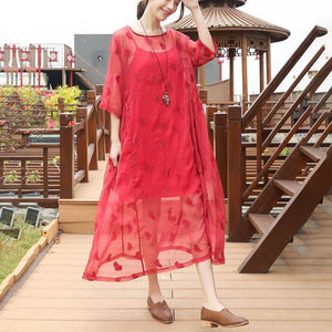 Elegant silk dresses plus size clothing Embroidery Round Neck Half Sleeve Casual Red Dress