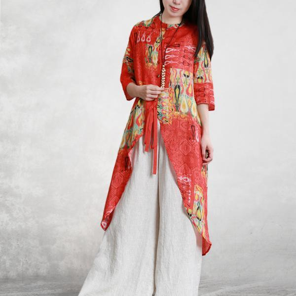 Elegant silk linen clothes For Women boutique Printed Soft Beauty Holiday Irregular Coat