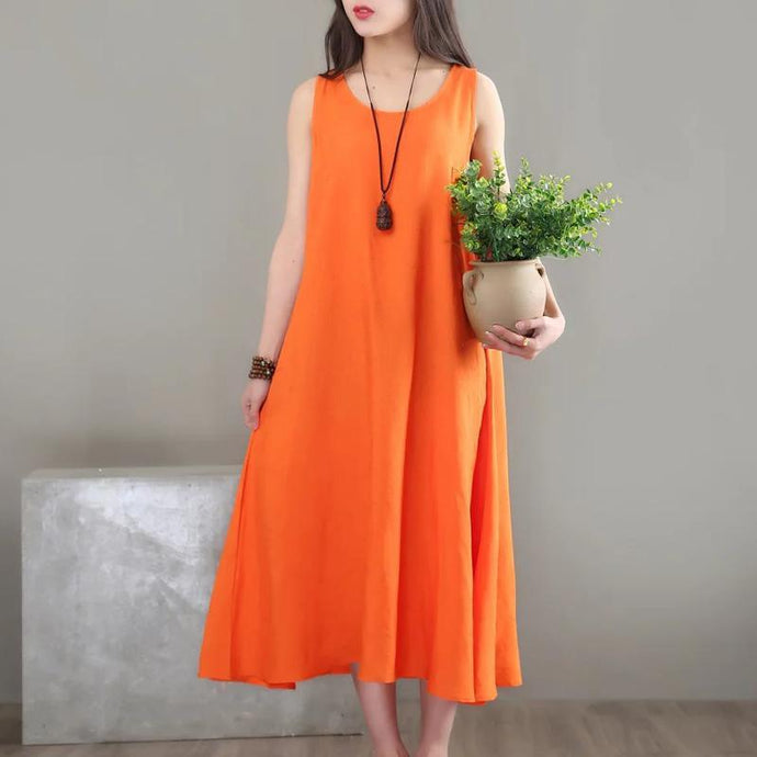 Elegant sleeveless o neck cotton quilting clothes Photography orange A Line Dress sundress