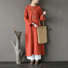 Load image into Gallery viewer, Elegant stand collar cotton spring tunic Tops orange jacquard Art Dresses