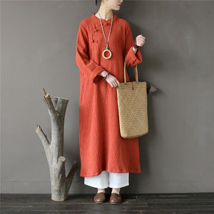 Elegant stand collar cotton spring tunic Tops orange jacquard Art Dresses