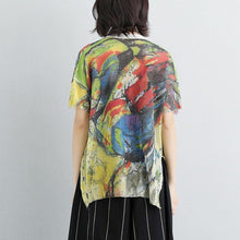 Load image into Gallery viewer, Elegant summer t shirt casual Women High-low Hem Short Sleeve Pockets Floral Tops