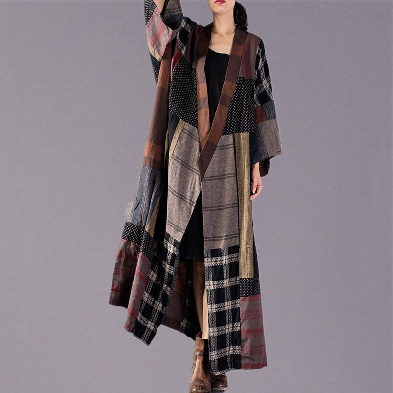 Elegant tie waist Plus Size clothes plaid patchwork Art coats