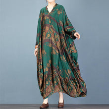 Load image into Gallery viewer, Elegant v neck Batwing Sleeve clothes For Women Inspiration green print Art Dress