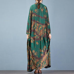 Elegant v neck Batwing Sleeve clothes For Women Inspiration green print Art Dress