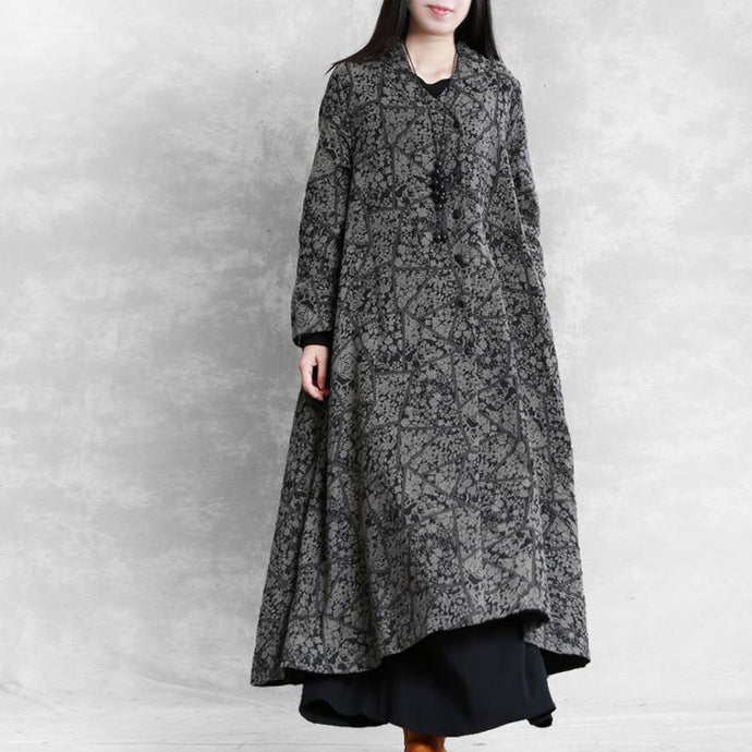 Elegant v neck cotton linen quilting dresses Sleeve gray prints Dress fall