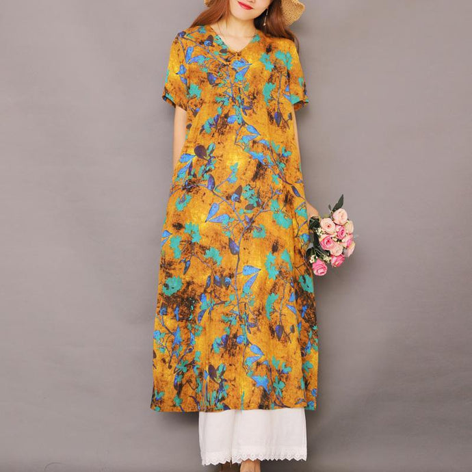 Elegant v neck cotton tunic pattern linen yellow long Dresses summer