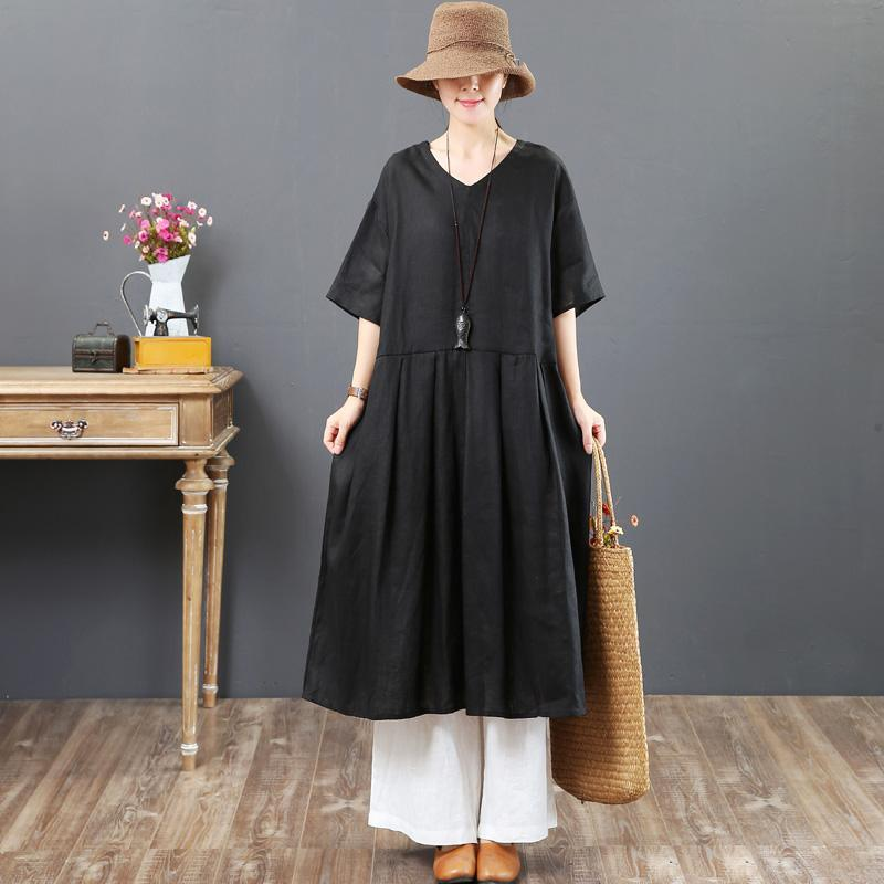 Elegant v neck half sleeve linen Robes Indian Tunic Tops black Robe Dresses Summer