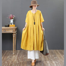 Laden Sie das Bild in den Galerie-Viewer, Elegant v neck half sleeve linen Robes Indian Tunic Tops black Robe Dresses Summer