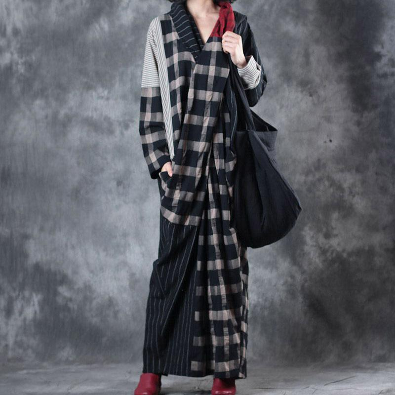 Elegant v neck patchwork linen dresses Fashion Ideas black Plaid Dress fall