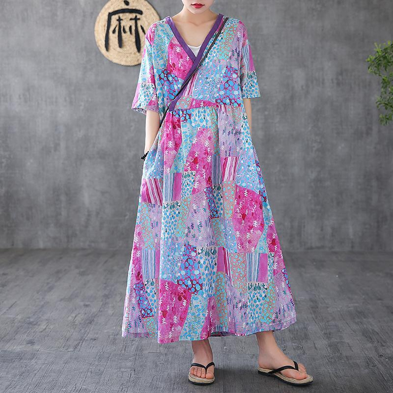 Elegant v neck patchwork linen dresses Tunic Tops light purple print Dress
