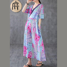 Load image into Gallery viewer, Elegant v neck patchwork linen dresses Tunic Tops light purple print Dress