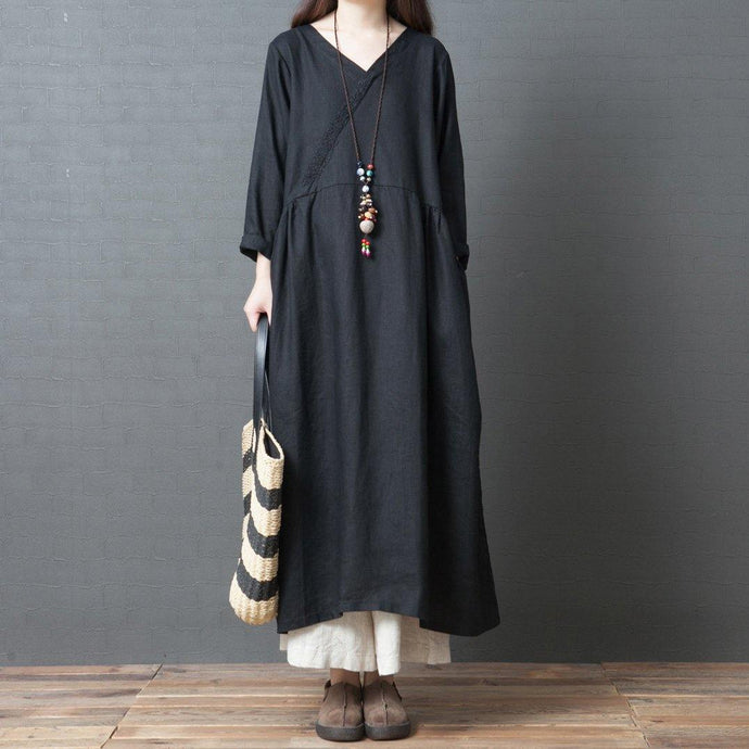 Elegant v neck pockets linen outfit stylish Shape black Kaftan Dresses