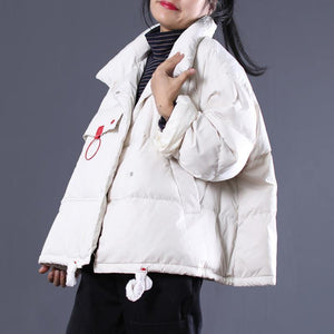 Elegant white Outfits oversize stand collar thick quilted coat Elegant double breasted down coats