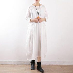 Elegant white cotton linen outfit Fine Neckline loose o neck pockets Dress