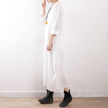 Load image into Gallery viewer, Elegant white cotton linen outfit Fine Neckline loose o neck pockets Dress