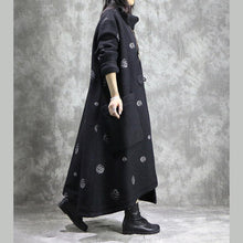 Load image into Gallery viewer, Elegant white dotted plus size Winter coat V neck asymmetric coat