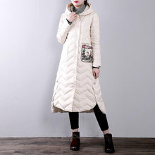 Load image into Gallery viewer, Elegant white goose Down coat trendy plus size hoodedYZ-2018111437