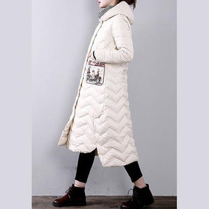 Elegant white goose Down coat trendy plus size hoodedYZ-2018111437