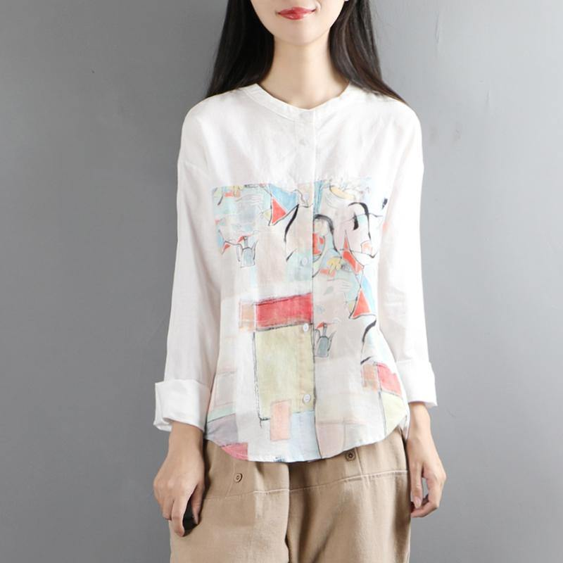 Elegant white linen tunic top prints Vestidos De Lino long sleeve top