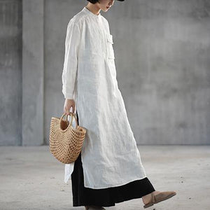 Elegant white natural linen dress Loose fitting stand collar linen clothing dress top quality side open autumn dress