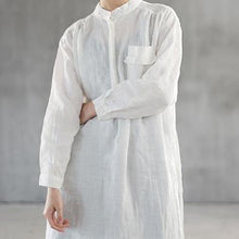 Load image into Gallery viewer, Elegant white natural linen dress Loose fitting stand collar linen clothing dress top quality side open autumn dress
