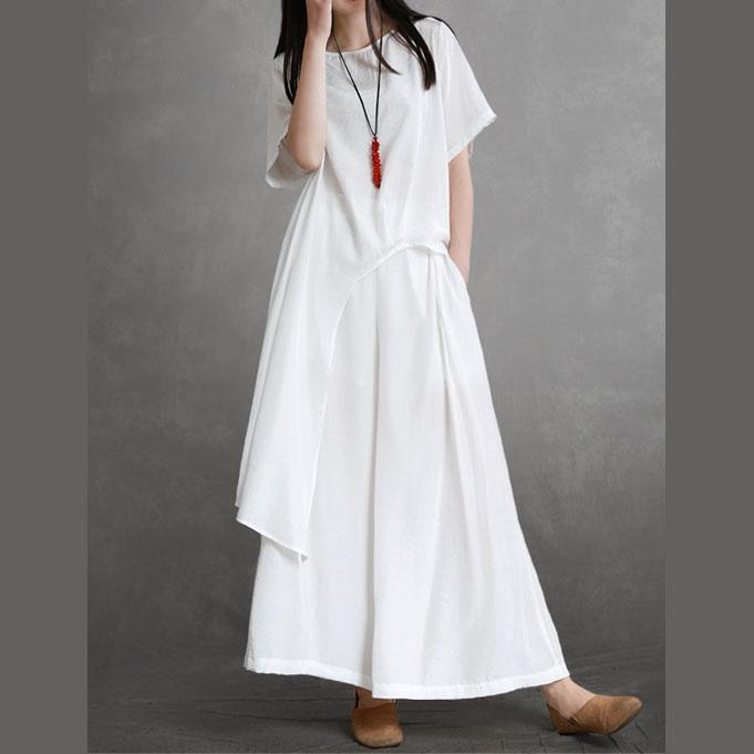Elegant white silk For Women tops and wide leg pants oversized summer two pieces
