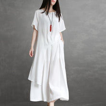 Load image into Gallery viewer, Elegant white silk For Women tops and wide leg pants oversized summer two pieces