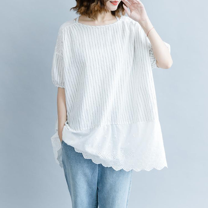 Elegant white striped cotton linen blouse plus size casual cardigans tops quality half sleeve hollow out O neck patchwork cotton linen t shirt