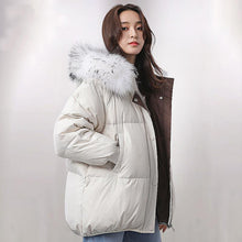 Load image into Gallery viewer, Elegant white warm winter coat Loose fitting fur collar women parka long sleeve winter outwear