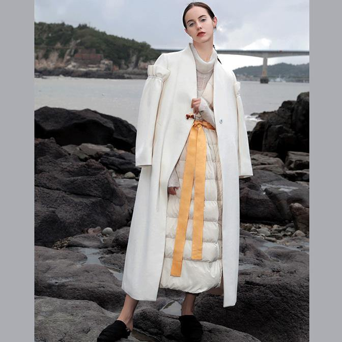Elegant white wool overcoat plus size long Ruffles winter coat V neck pockets coats