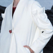 Load image into Gallery viewer, Elegant white wool overcoat plus size long Ruffles winter coat V neck pockets coats