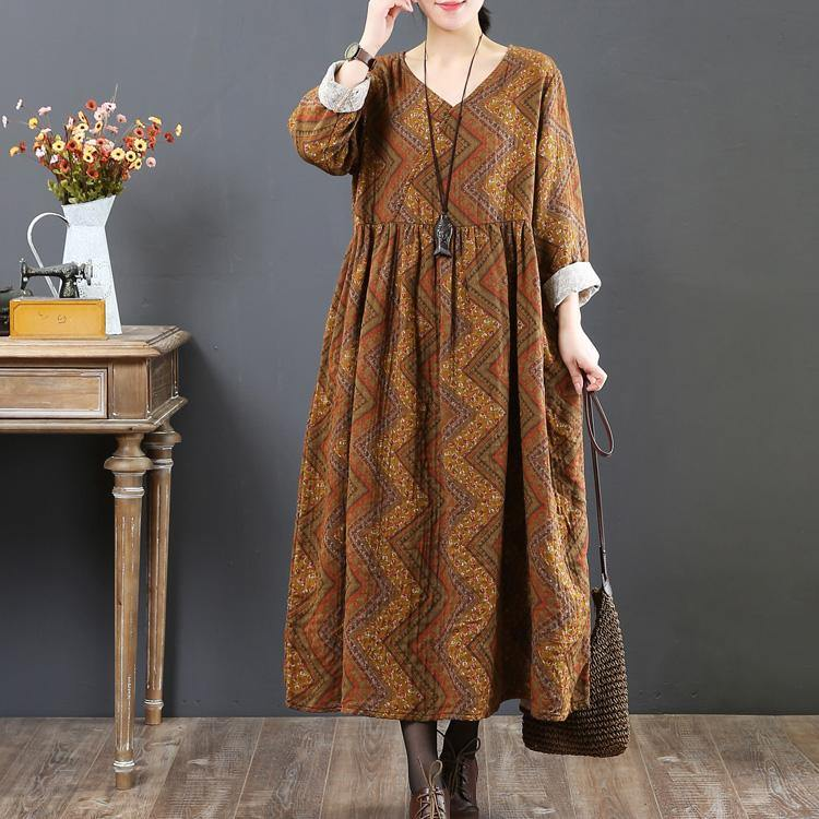 Elegant yellow  natural cotton dress Loose fitting autumn dressv neck women prints dress